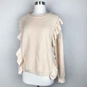 Molly Green Women's Cream Ruffle Pullover Sweater